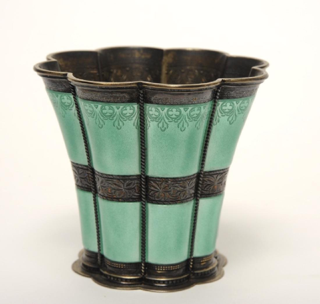 Anton Michelsen Sterling Silver Green Enameled Cup