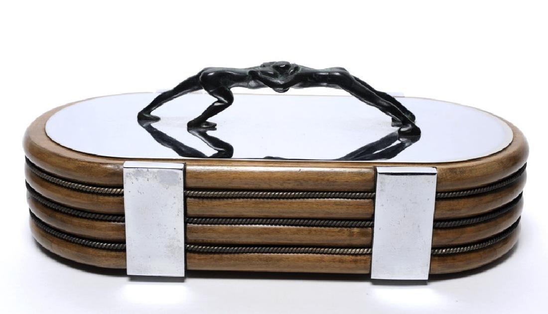 French Art Deco Wood Box w Bronze Wrestler Handle