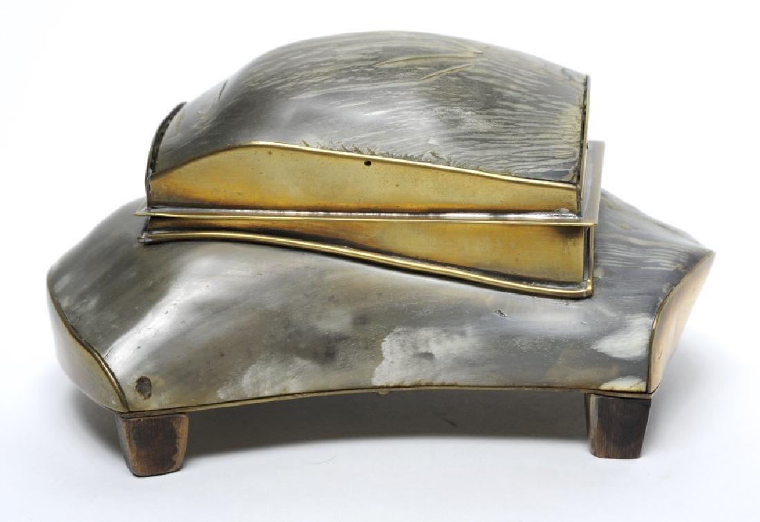 """Hollywood Regency Brass Bull Horn Dresser Box 7"""""""