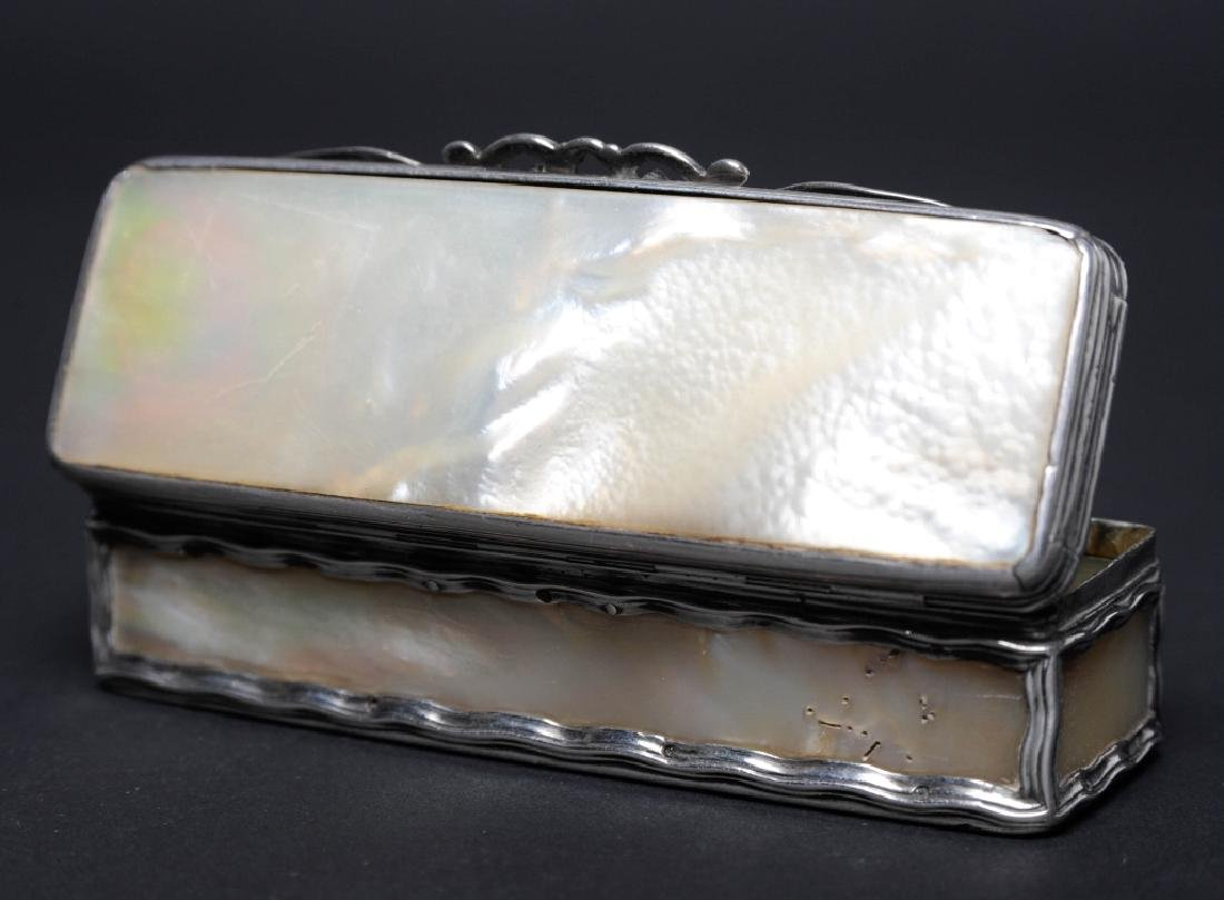 Antique Art Nouveau Silver Mother of Pearl Box