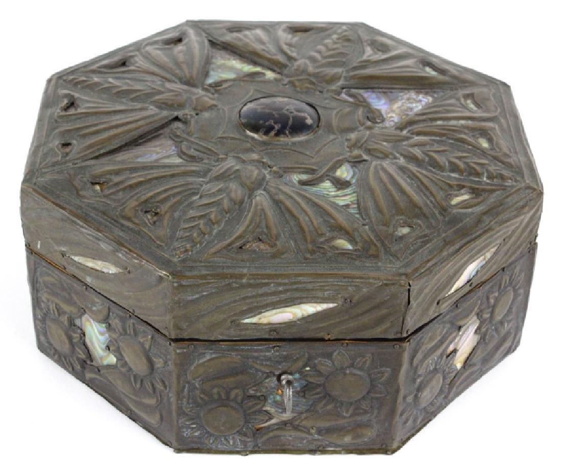 Arts & Crafts Style Copper Art Glass Abalone BOX