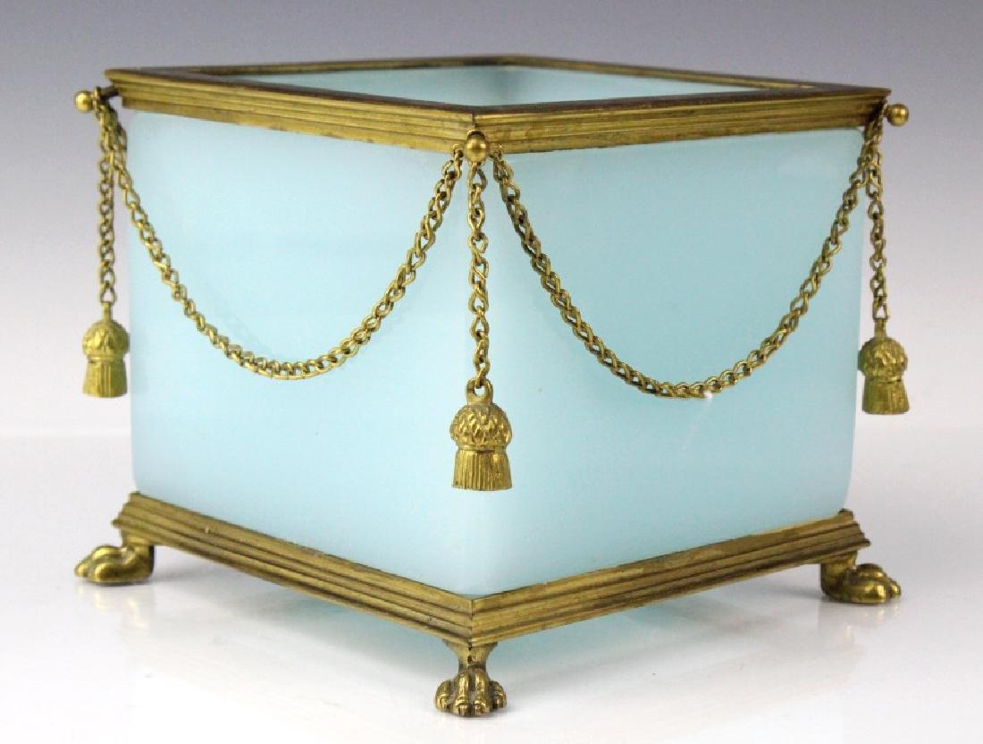 French Bronze Mount Opaline Jardiniere Tassel Box