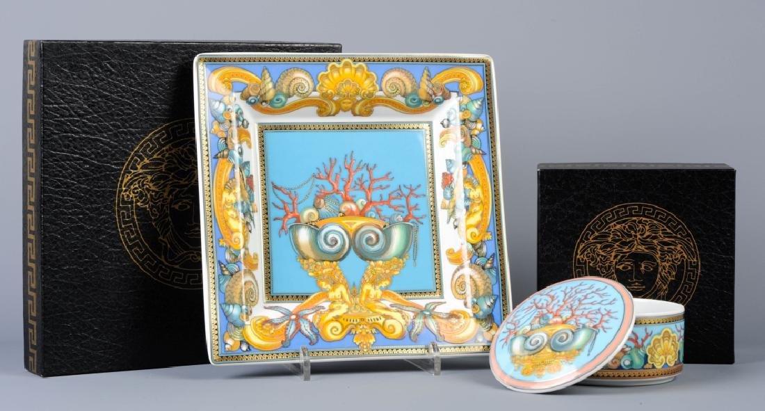 2 Versace Rosenthal Porcelain Trinket Box & Tray