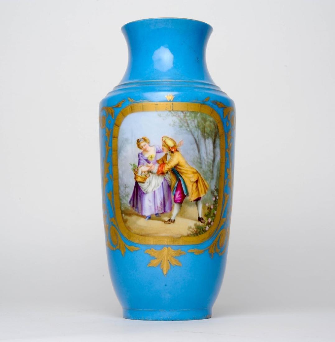Antique Sevres Style French Blue Porcelain Vase