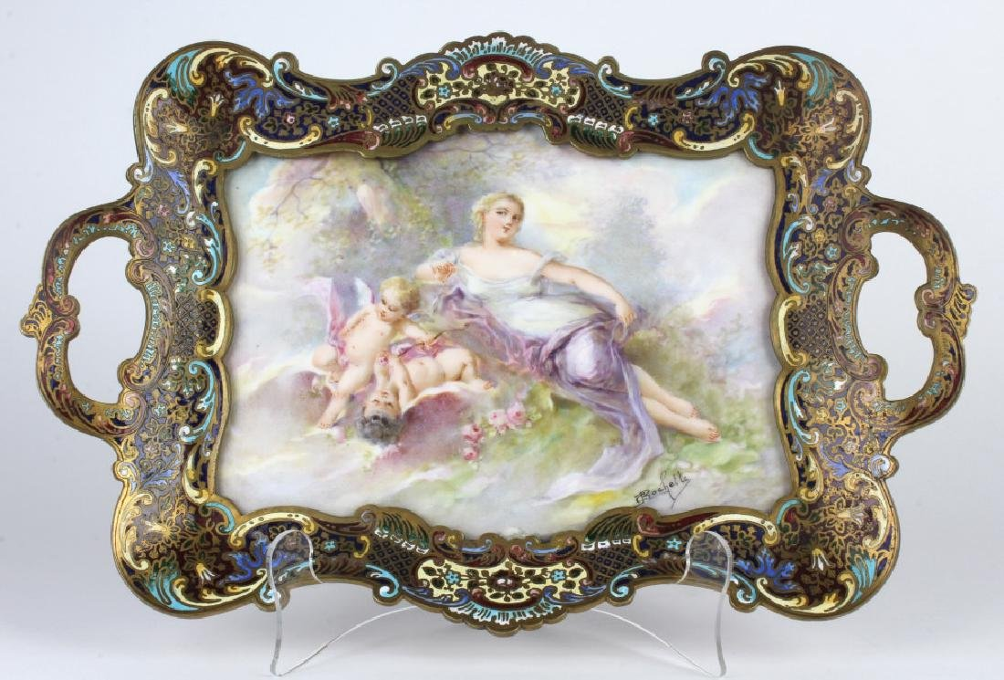 French Signed Rochette Porcelain & Champleve Tray