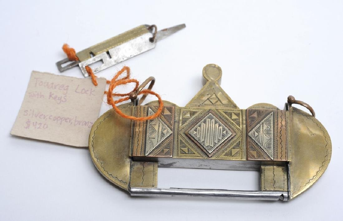 Antique African Tuareg Mixed Metals Tribal Lock