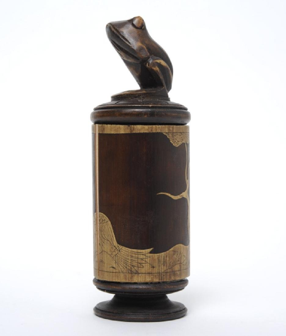 Chinese Carved Bamboo Wood Frog Lidded Jar Box