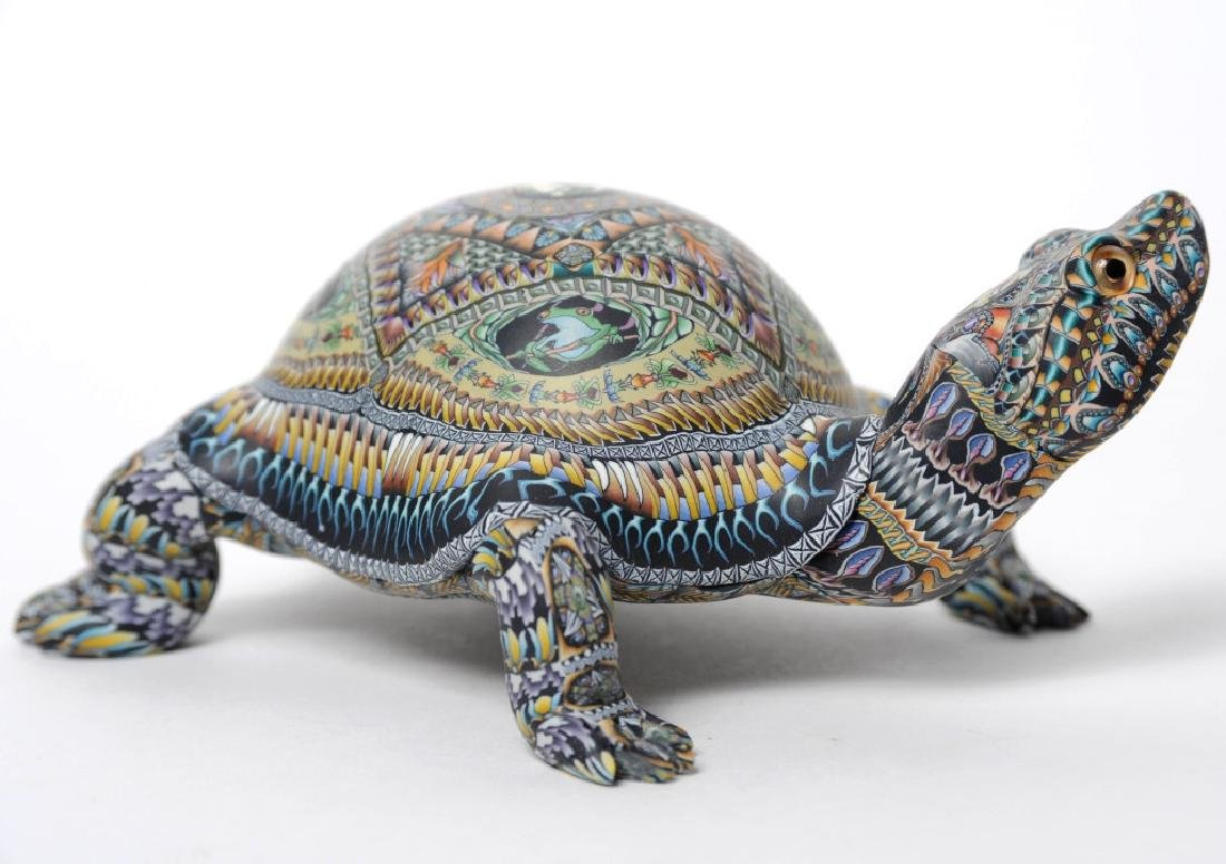 Signed Jon Anderson Polymer Clay Turtle Sculpture