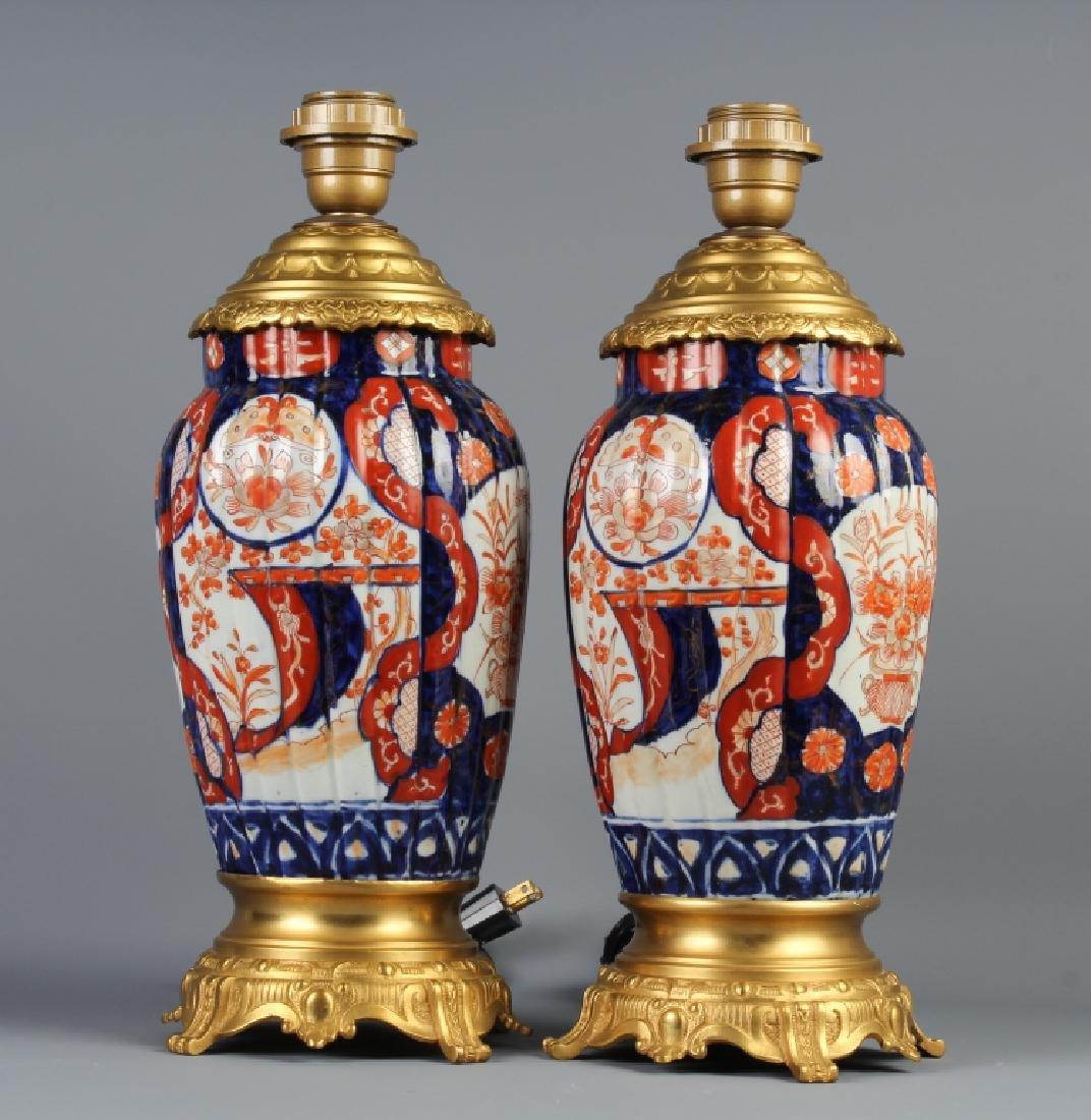 Pair Dore Bronze Mounted Japanese Imari Lamps