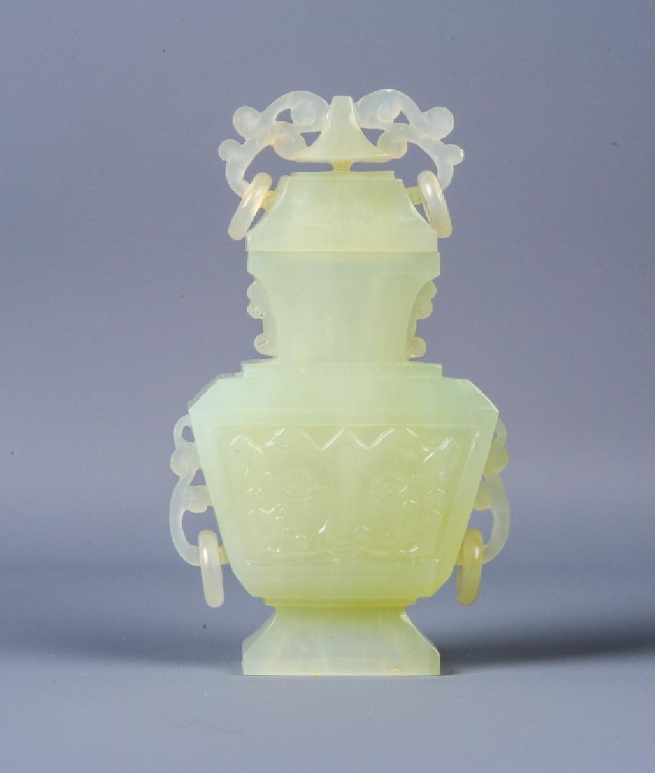 Antique Chinese Celadon Jade Lidded Urn Vase