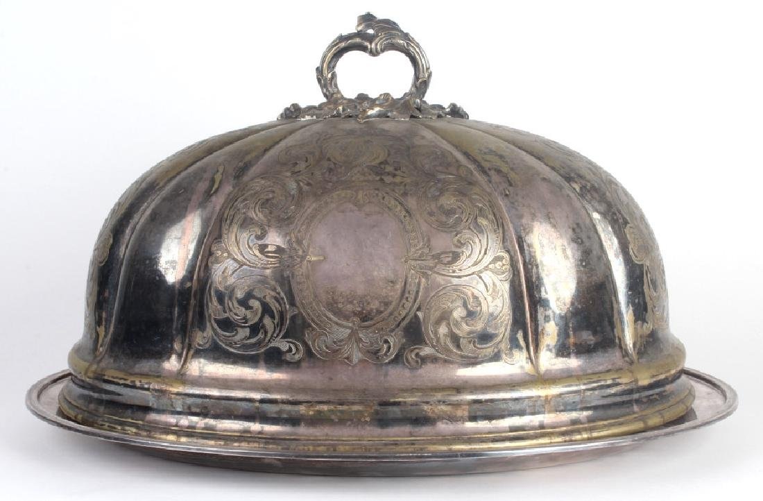Antique Ornate Sheffield Silver Plate Serving Dome