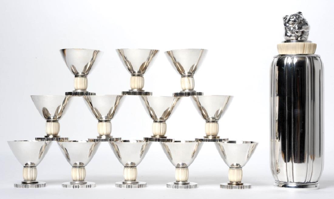 Evald Nielsen Danish Sterling Silver Cocktail Set