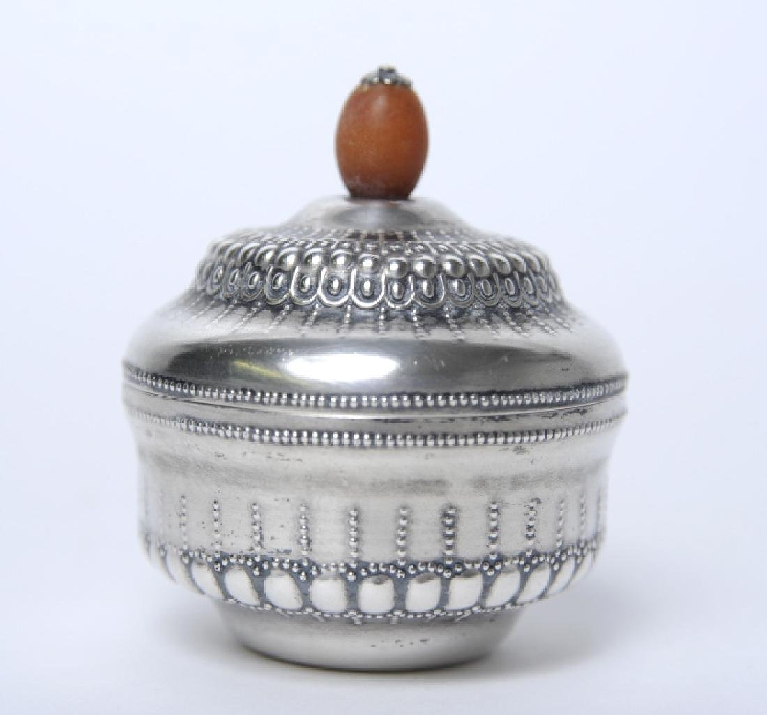 KJB Signed 800 Silver Box w Baltic Amber Finial