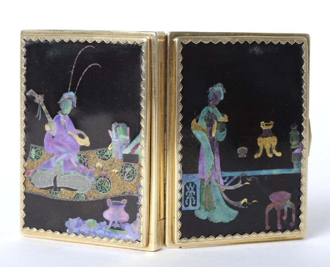 CARTIER Gold Lac Burgaute Chinoiserie Vanity Case