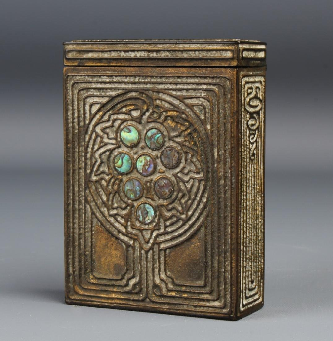TIFFANY Studios Abalone Bronze Cigarette Box Case