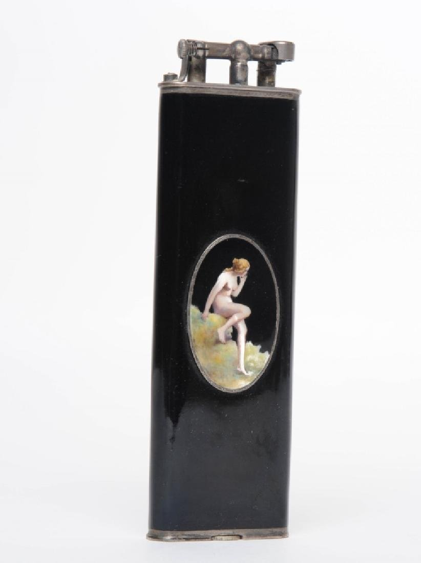 Dunhill Unique Female NUDE Enameled Tall Lighter