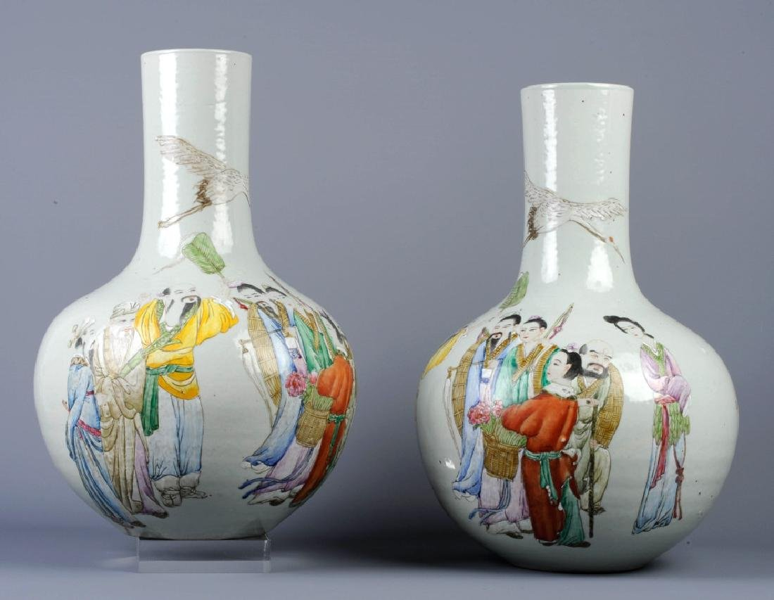 PAIR of Chinese Export Famile Rose Figural Vase