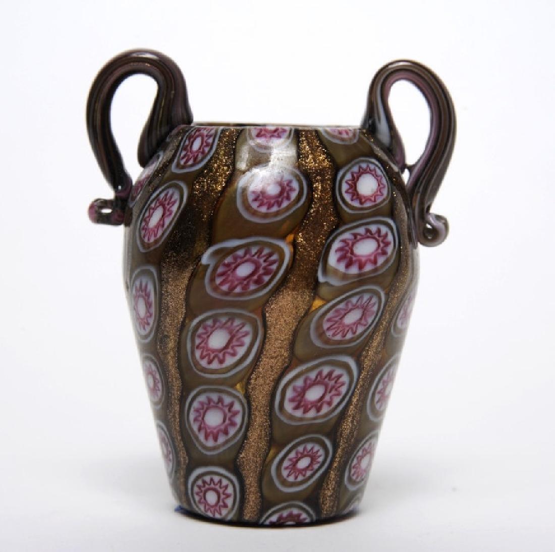 "Murano Italian Art Glass Millefiori Toso Vase 3"""