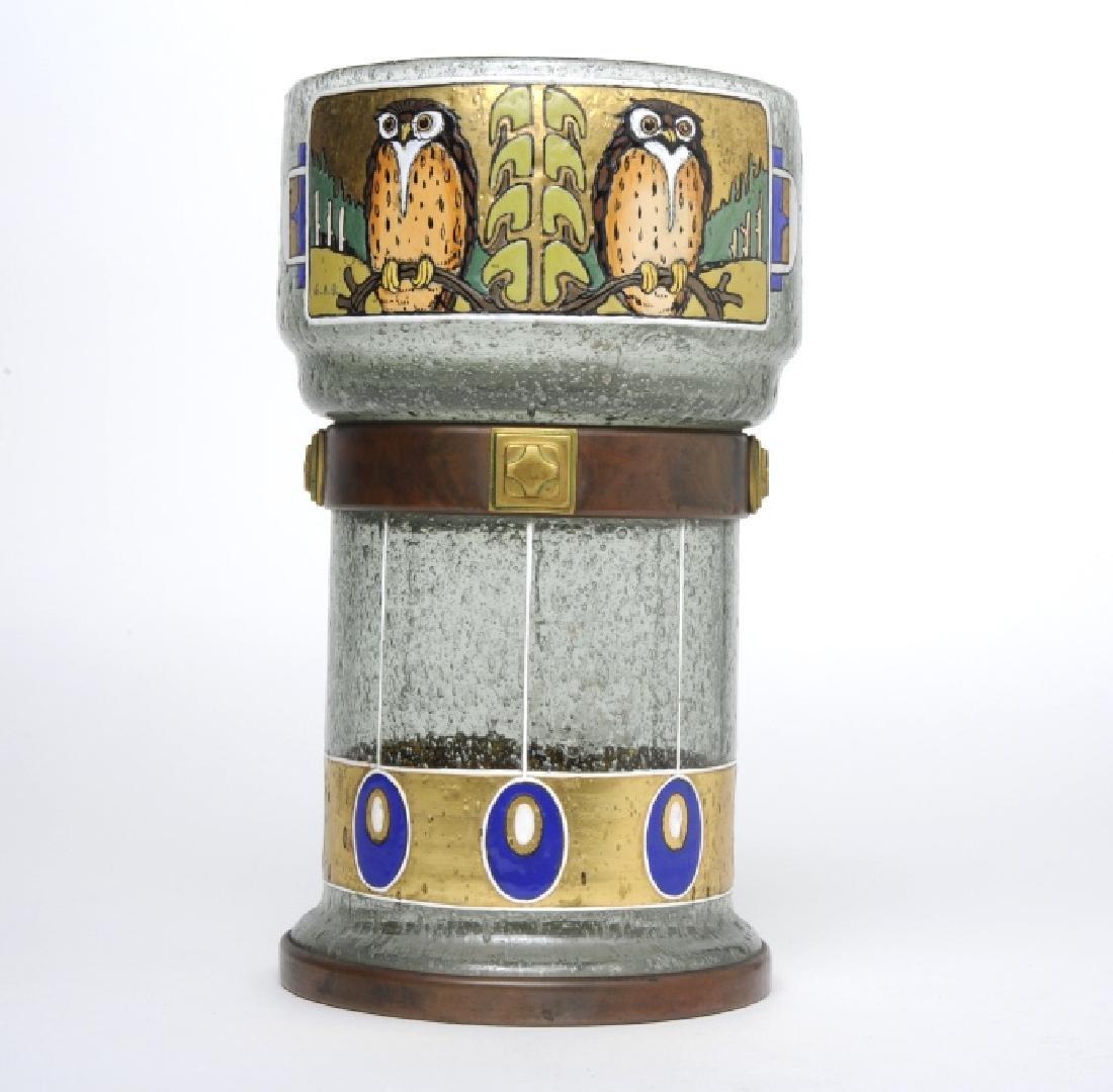 Carl Georg Reichenbach Bronze Enamel Owl Goblet