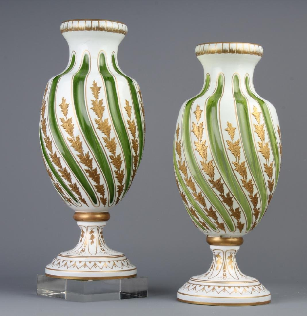 PAIR Moser Karlsbad Enameled Green White Vase 12""