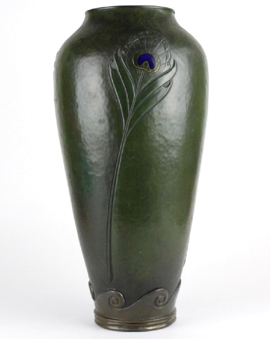LARGE Art Nouveau Copper Bronze & Enamel Vase 20""