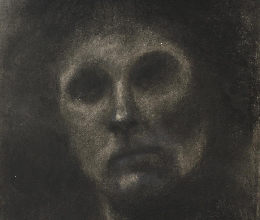Mystery Artist Ghostly Figural Charcoal Portrait