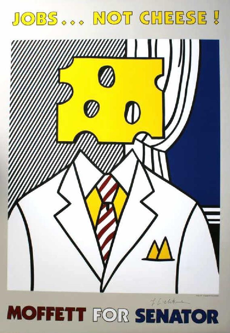 SIGNED Lichtenstein Jobs Not Cheese Pop Art Poster