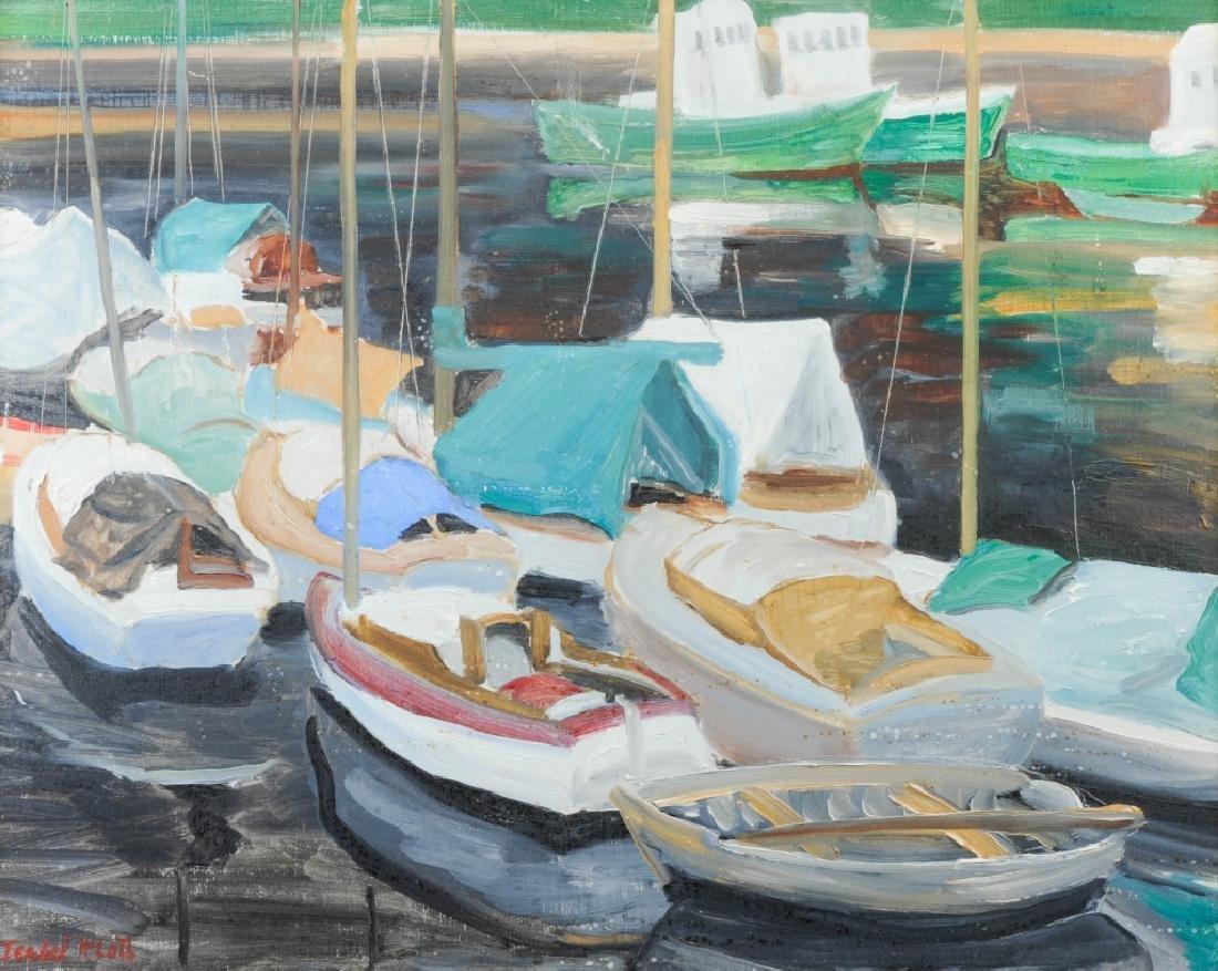 Isabel H. Klots Impressionist Harbor Boat Painting