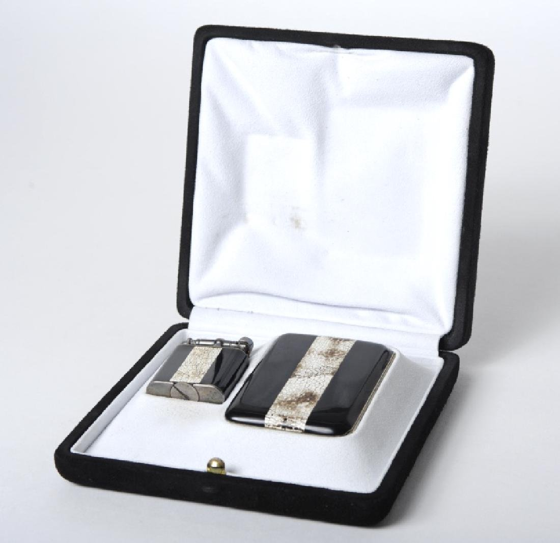 Dunhill Argentan Silver Enamel Lighter Smoking Set