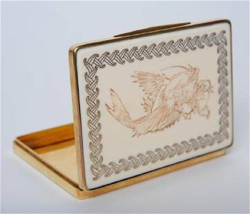 Alfred Dunhill Paris 18K Gold Koi Fish Case BOX