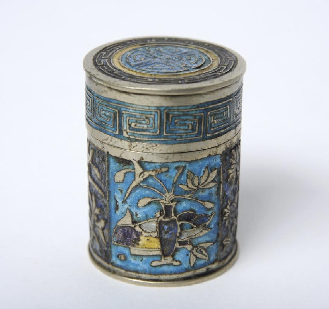Antique Chinese Enameled Lidded Tobacco Jar BOX