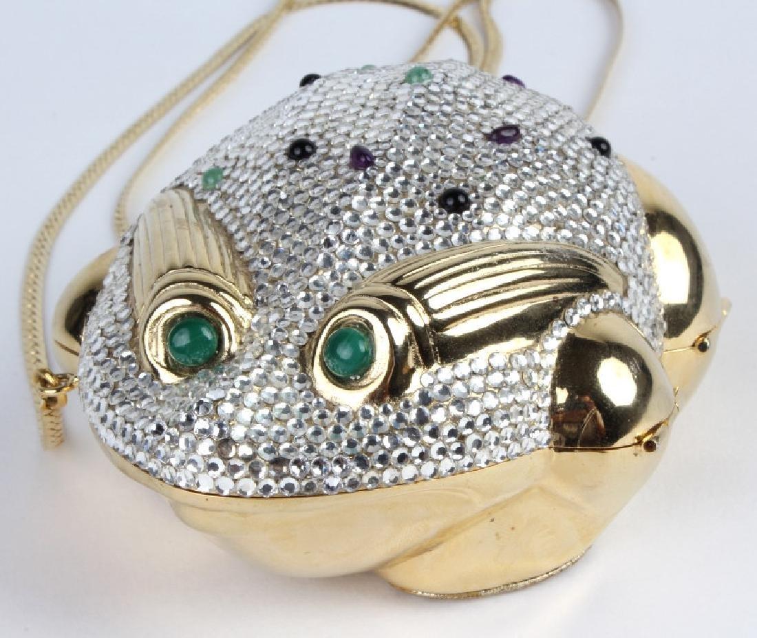 Judith Leiber Swarovski Gold Frog Purse Minaudiere