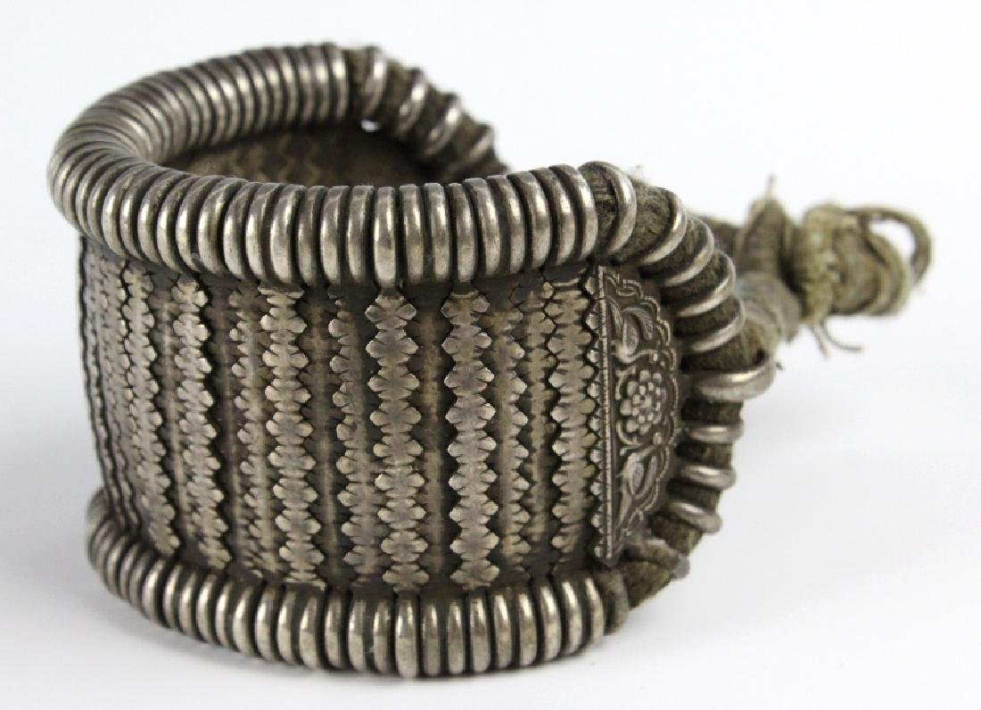 Antique Chinese Woven Solid Silver & Rope Bracelet