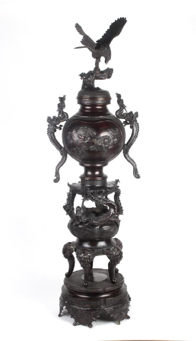 Japanese Meiji Period Dragon Eagle Bronze Censor