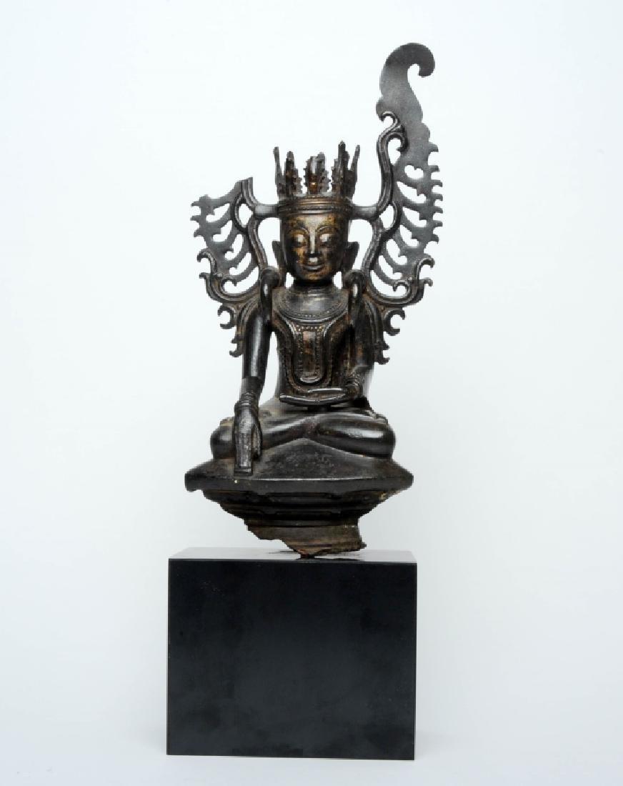 Antique Burmese Bronze Crown Buddha Statue 1980