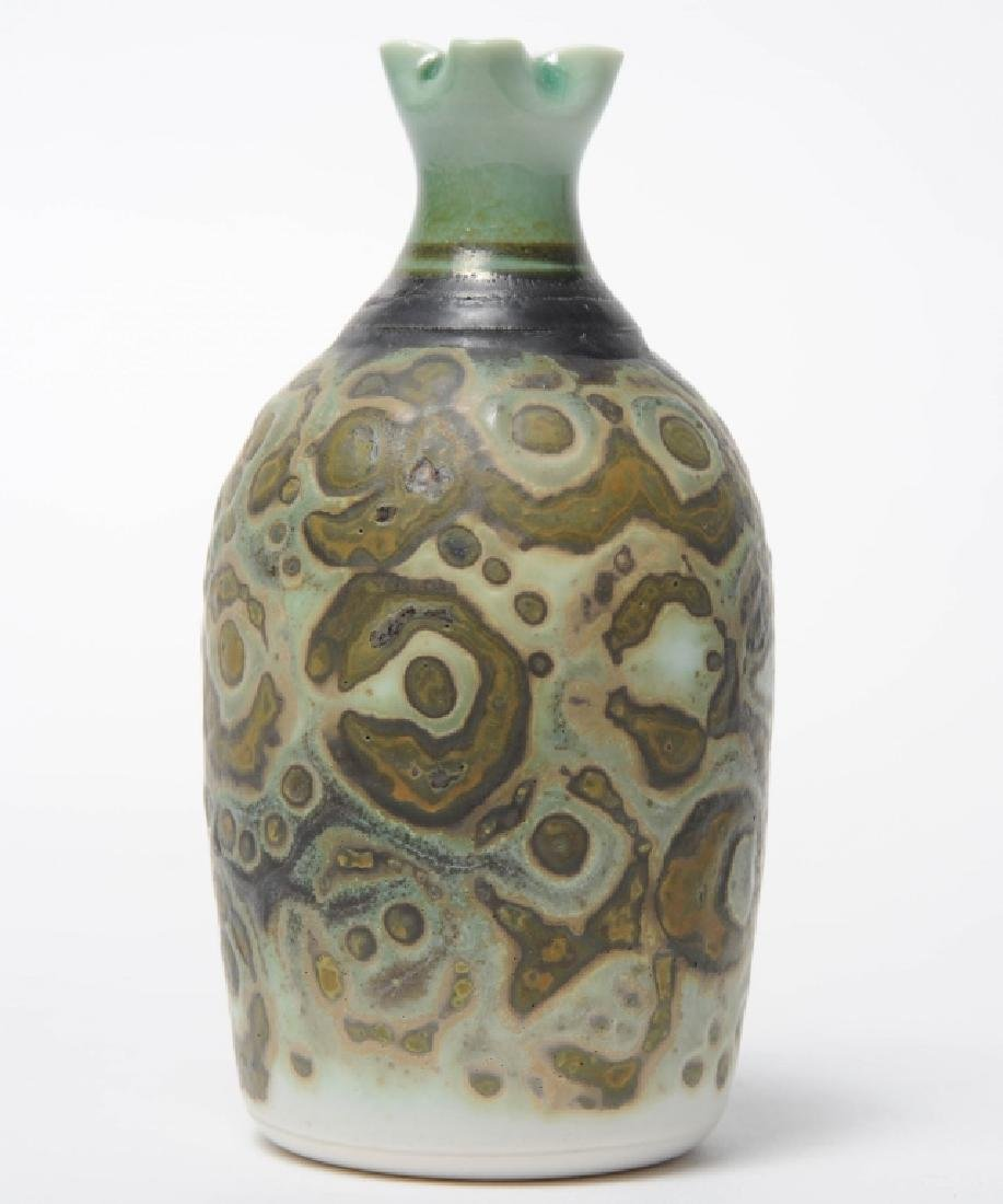Studio Art Pottery Glazed Pinched Neck Bud Vase