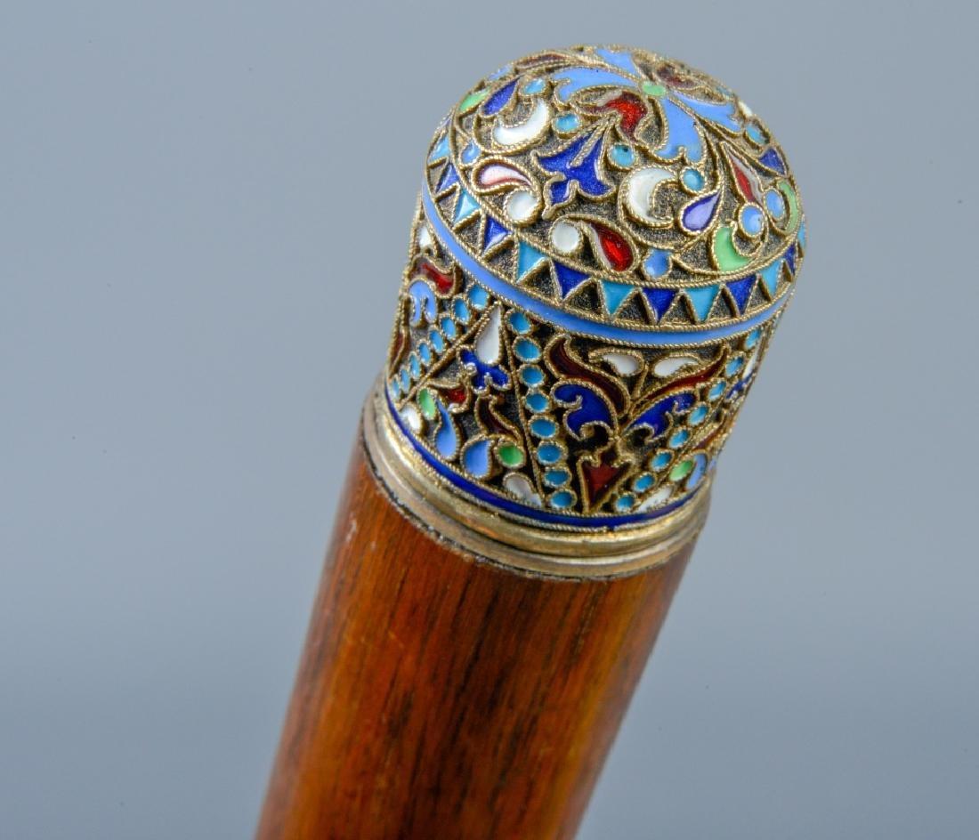 Russian Silver & Enamel Cane & Gilt Silver Pipe