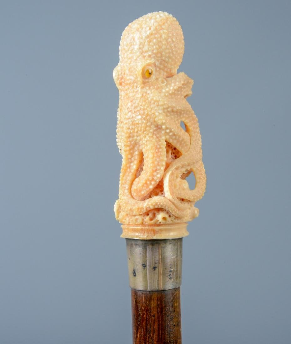 Exceptional Carved Octopus Sterling Walking Cane