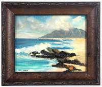 Listed CARL SAMMONS Costal Seascape Oil Painting