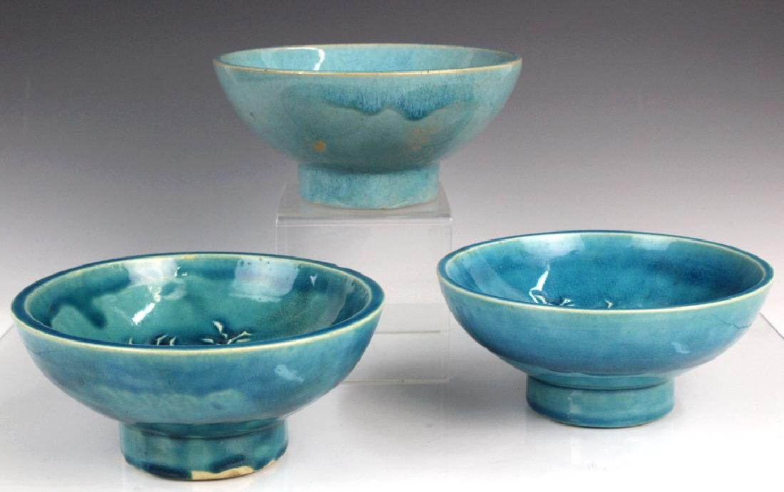 AAA Three Stonelane Blue Glazed Footed Bowls RC