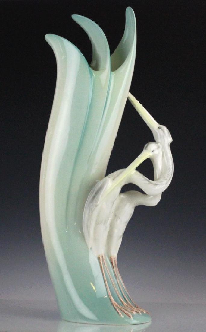 Vigi Torino Italian Porcelain Painted Bird Vase