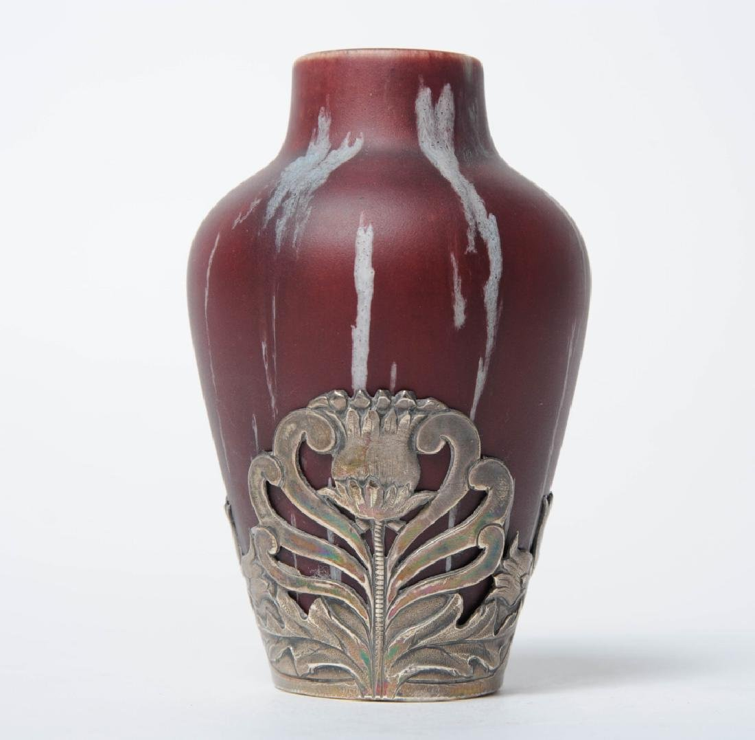 Eugene Baudin Silver Mounted Flambe Glaze Vase