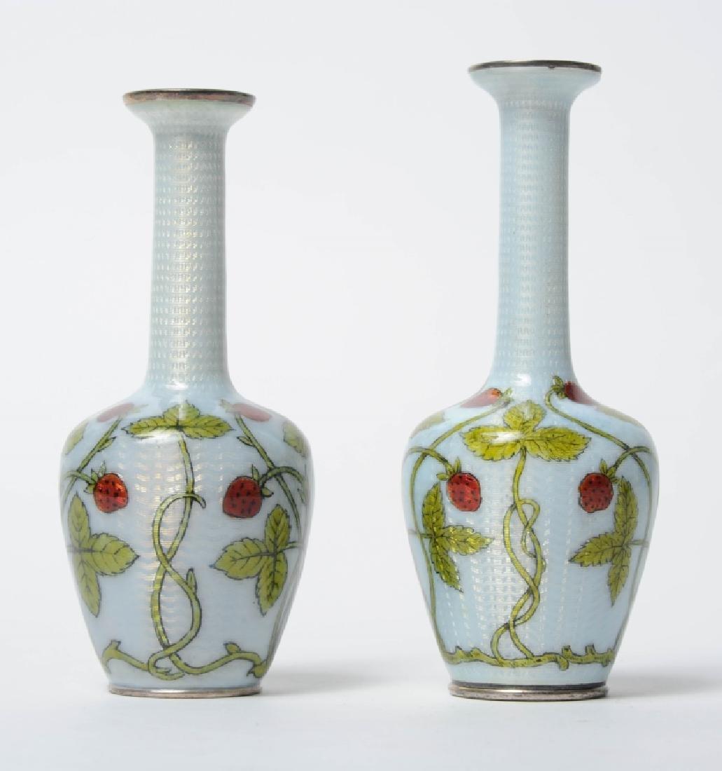 Pr French Sterling Silver Enameled Strawberry Vase