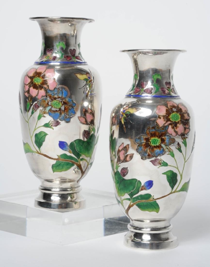 PAIR Japanese Sterling Silver Enameled Bud Vase