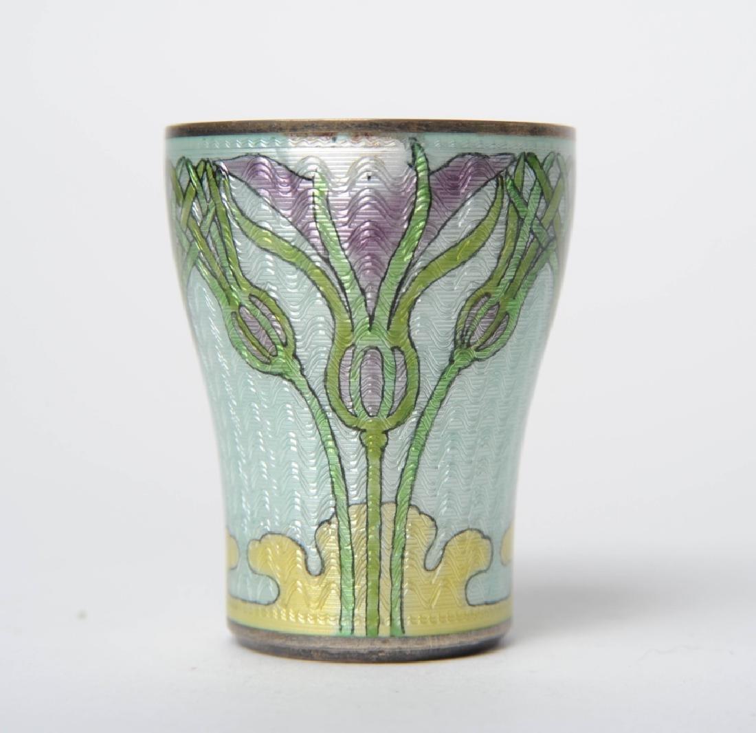 Antique Art Nouveau Sterling Silver Enameled Cup