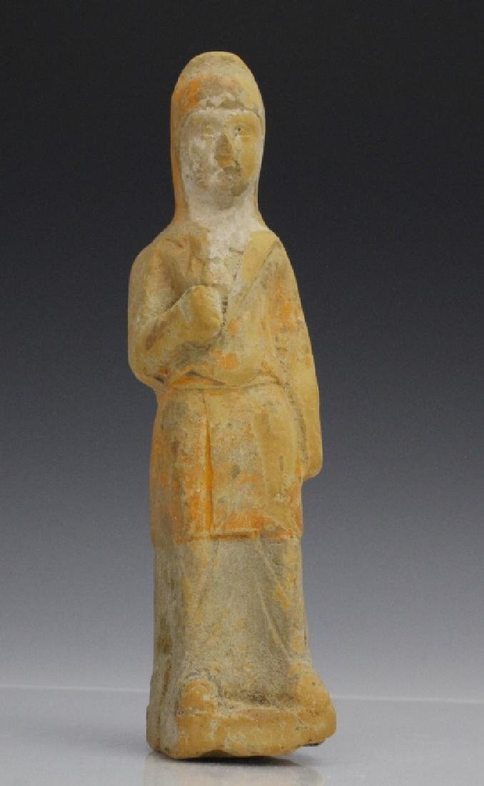Tang Dynasty Red Pottery Male Attendant Statue