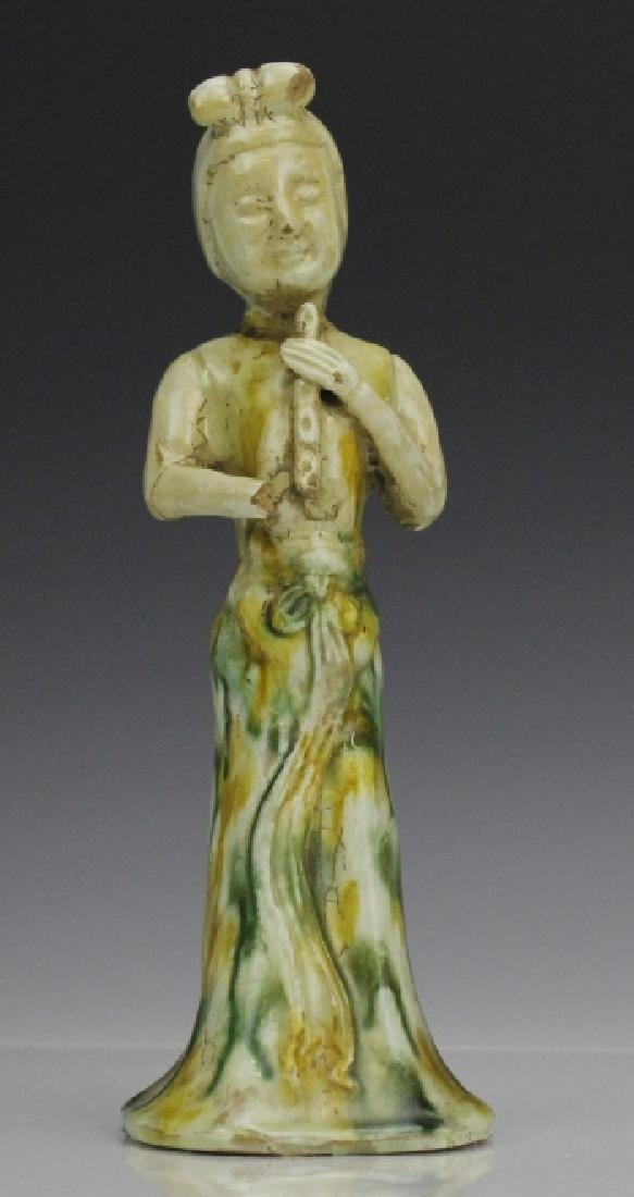 Tang Dynasty Sancai Red Pottery Female Figure