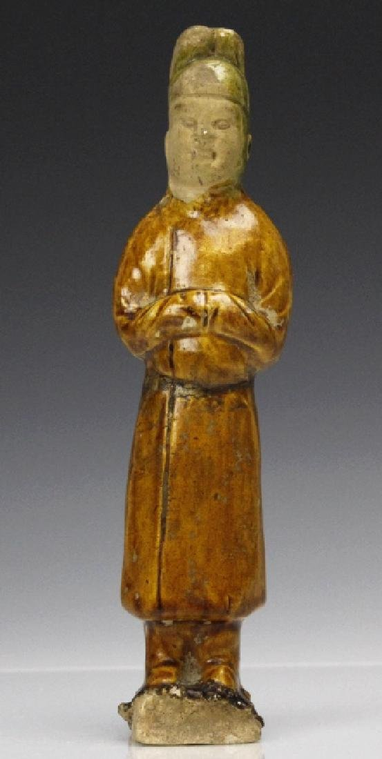 Tang Dynasty Green And Amber Pottery Groom Figure