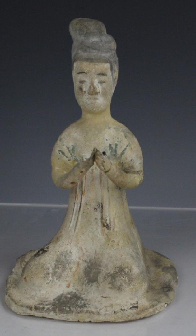 Tang Dynasty Red Pottery Seated Female Figure