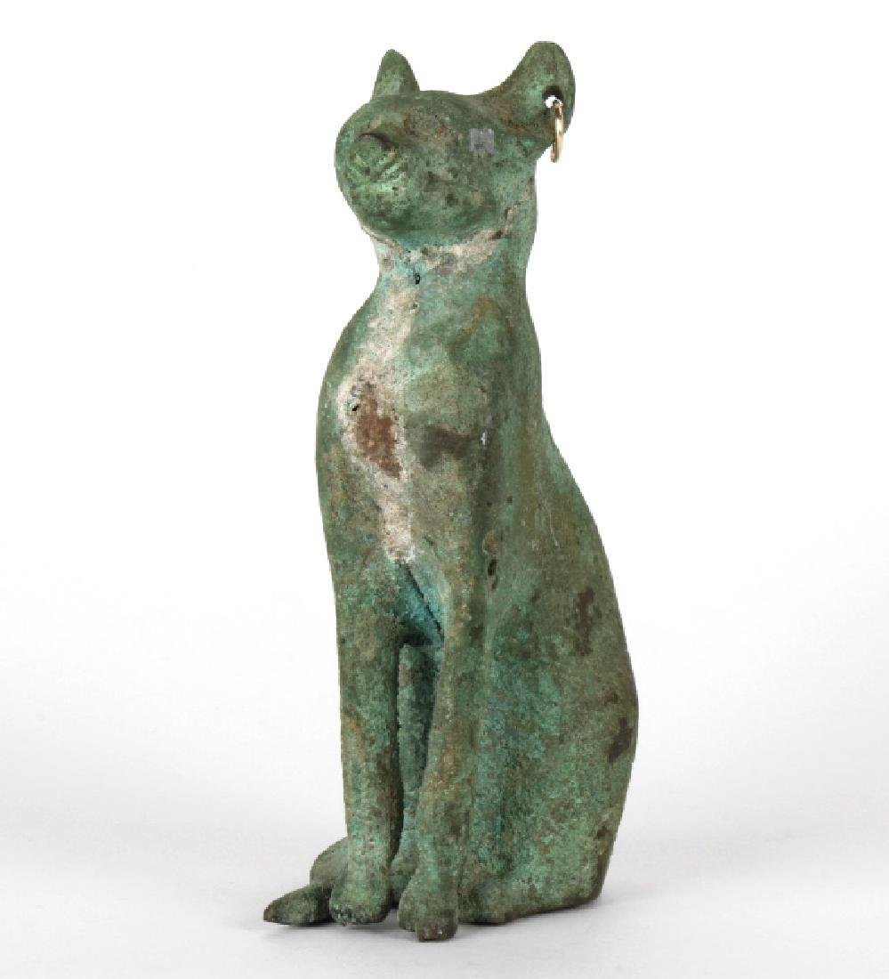 Old Late Ptolemaic Bronze Egyptian Cat Sculpture